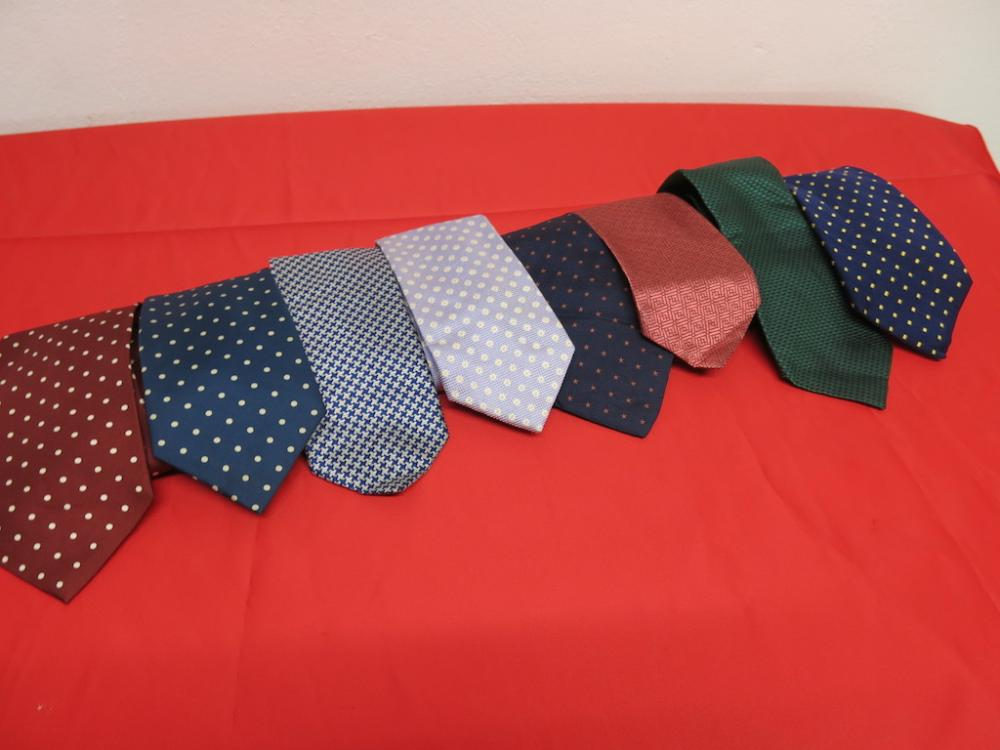 8 X Assorted Silk Ties To Include 3 X Hackett 3 X Pink 1 X Hawes Curtis 1 X Austin Reed